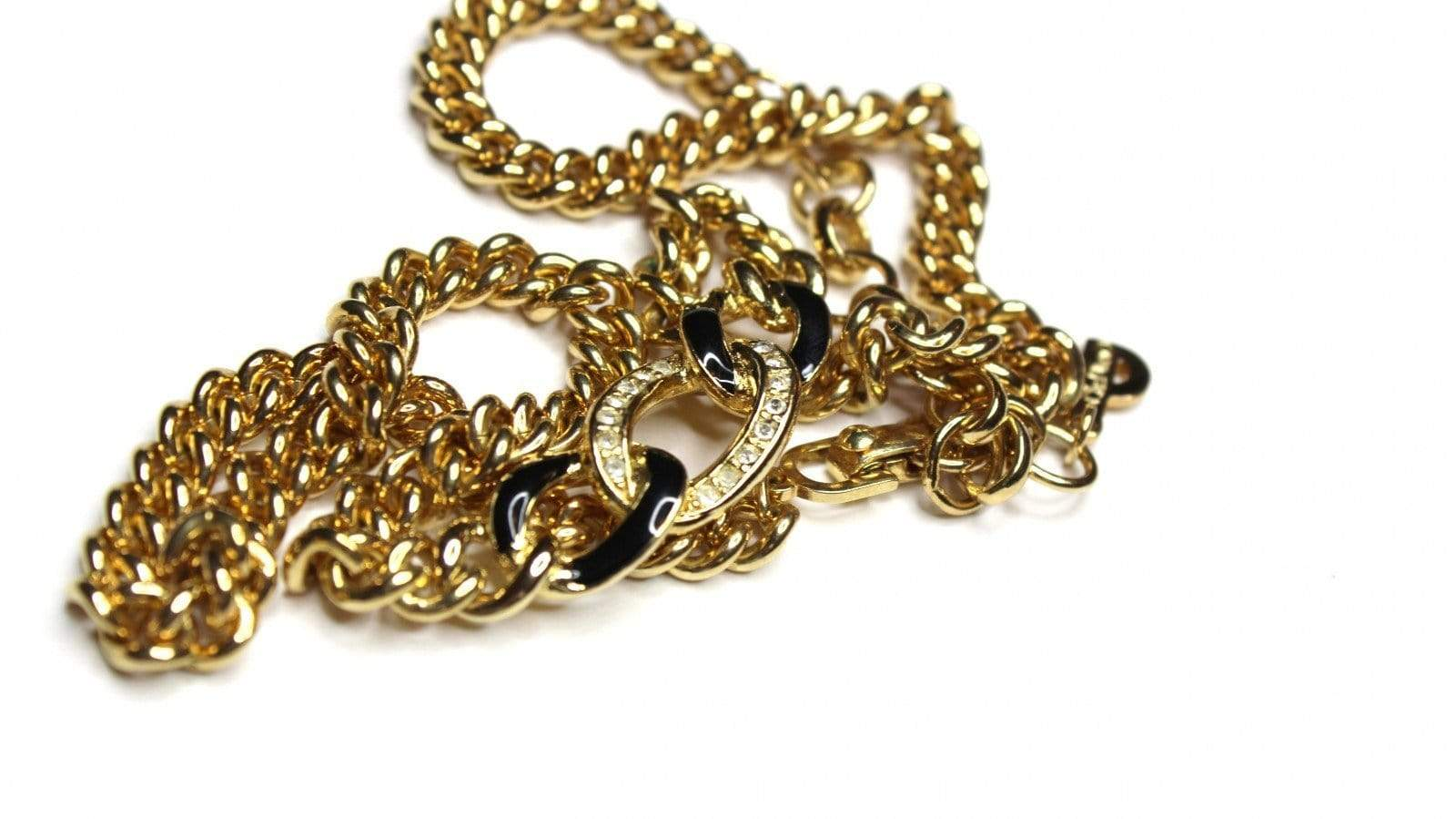 Gold Dior Necklace with Black Enamel and Crystal Accents RSTKD Vintage