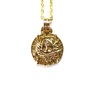 Gold Gianni Versace Large Upside Down Medusa Head Coin Chain with Greek Key Accents RSTKD Vintage