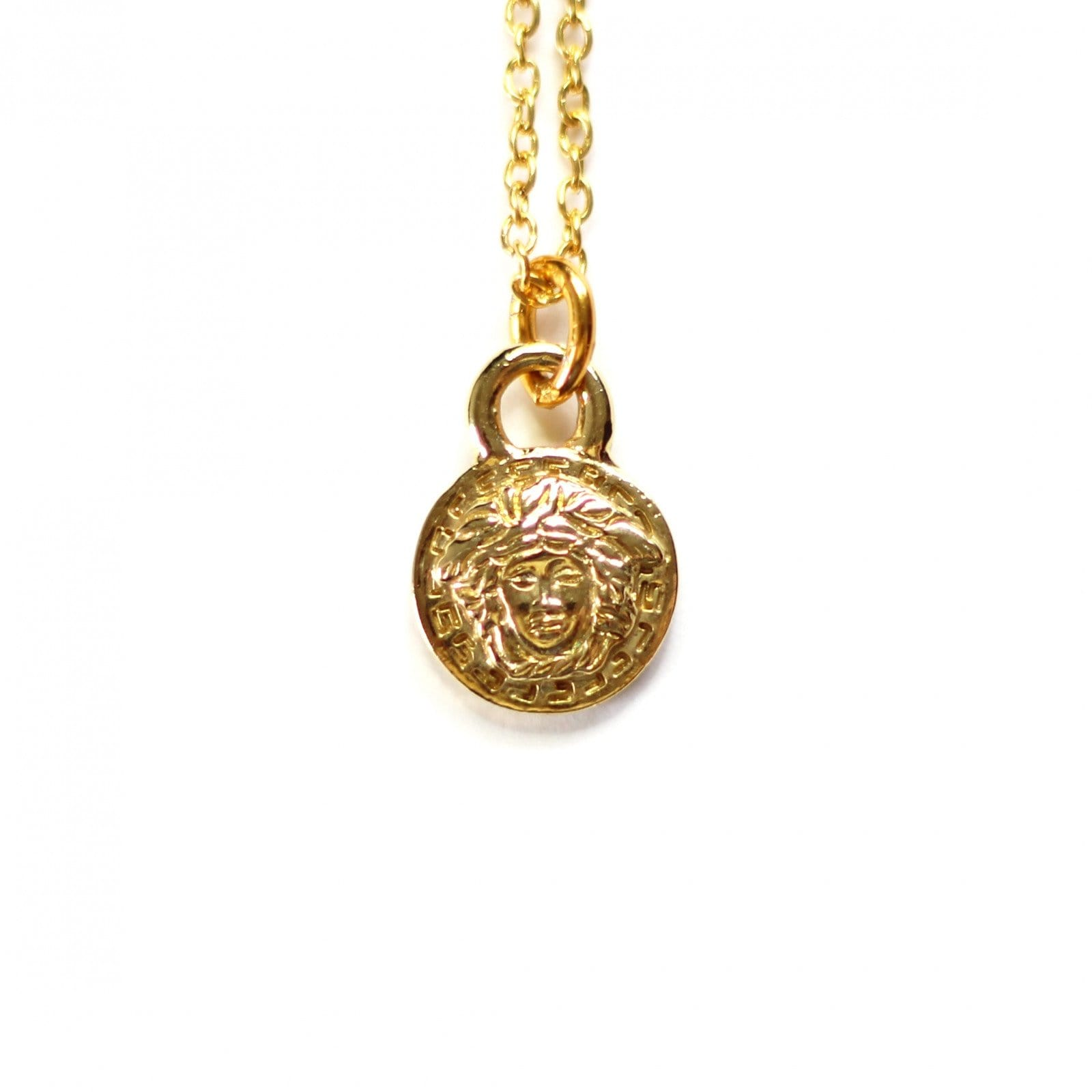 Gold Gianni Versace Small Medusa Head Coin Chain RSTKD Vintage