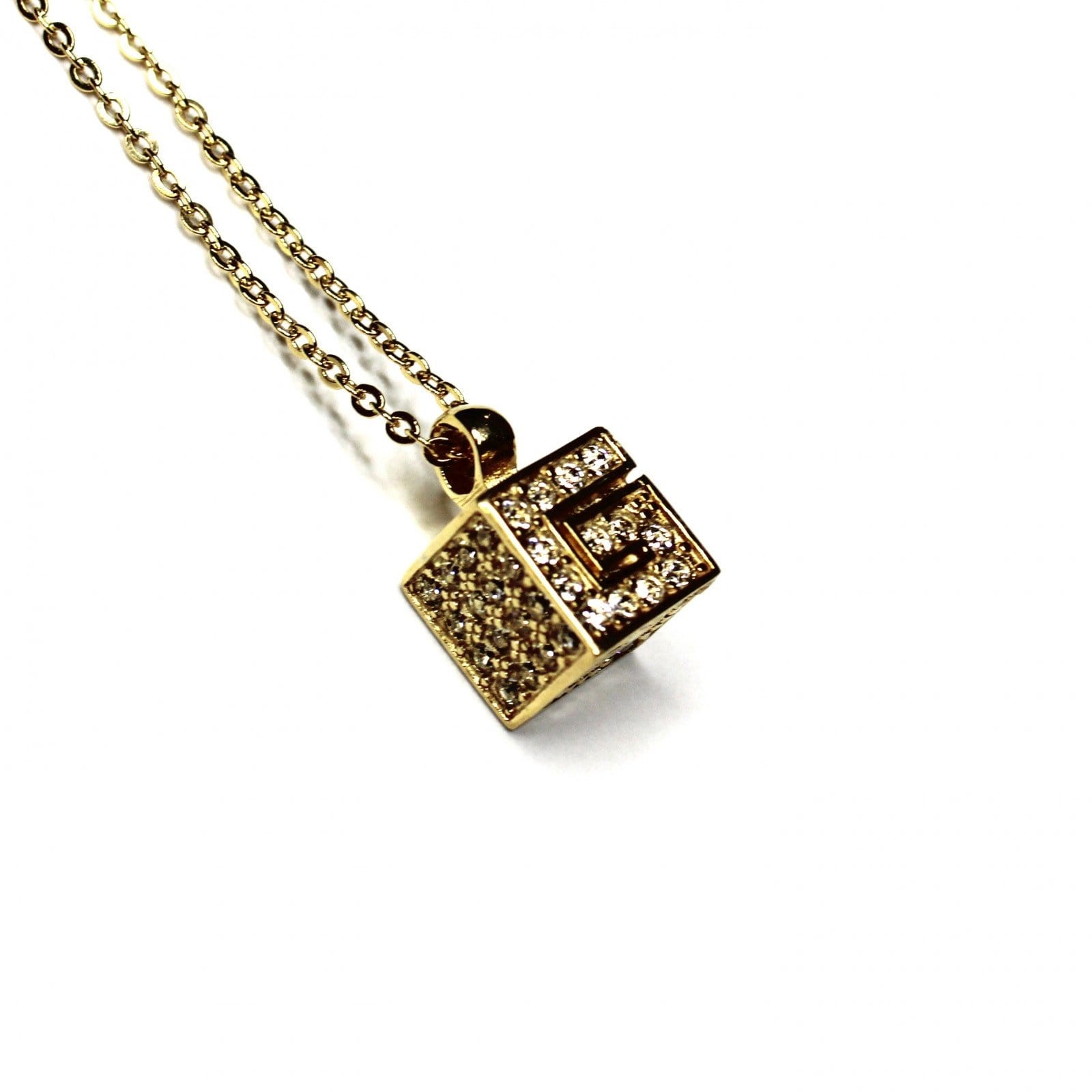 Gold Givenchy G Cube Normal Link Necklace with Crystal Accents RSTKD Vintage