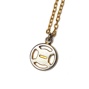 Large Gold/ Silver Celine Circle Two Tone Logo Pendent Chain RSTKD Vintage