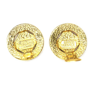 Round Gold Vintage Versace Medusa Head and Greek Key Earrings RSTKD Vintage
