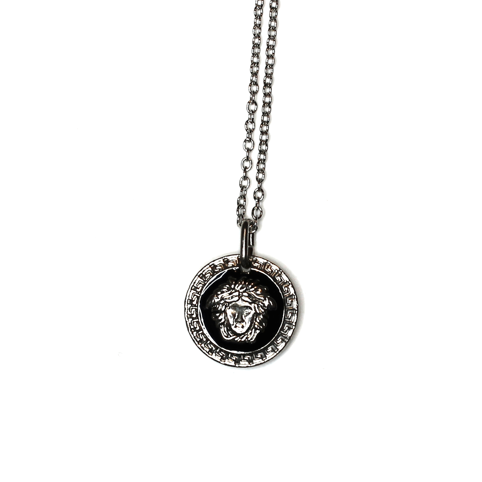 Silver Gianni Versace Black/ White Double Sided Medusa Head Coin Pendent Chain RSTKD Vintage