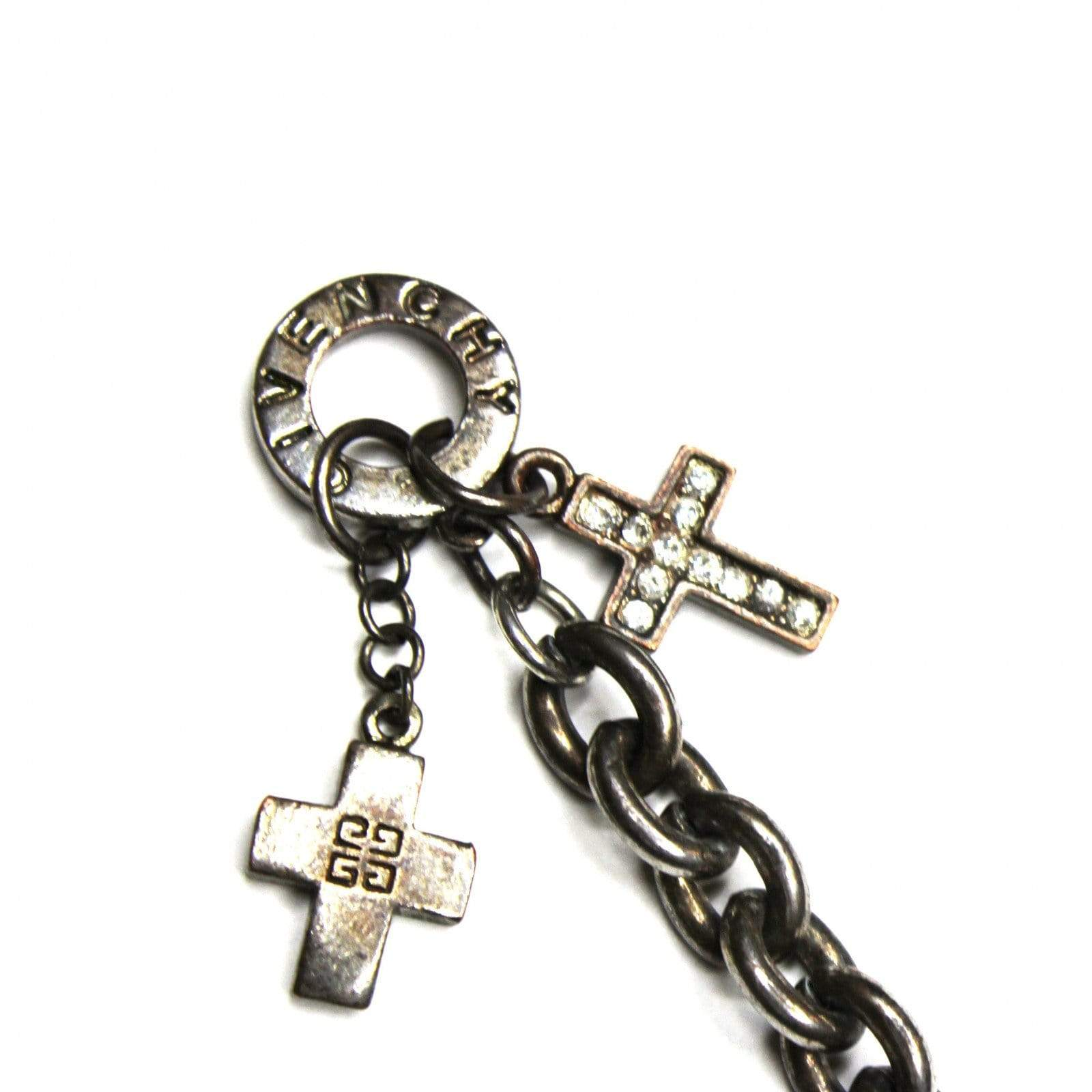 Silver Givenchy Cross Charm Bracelet with Crystal Accents RSTKD Vintage