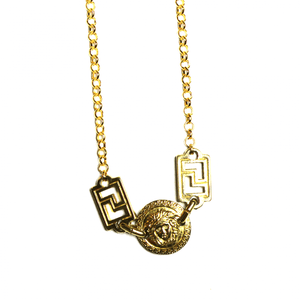 Small Gold Gianni Versace Double Sided Medusa Head Coin Chain with Greek Key Accents RSTKD Vintage