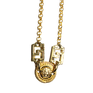 Small Gold Gianni Versace Single Sided Medusa Head Coin Chain with Greek Key Accents RSTKD Vintage