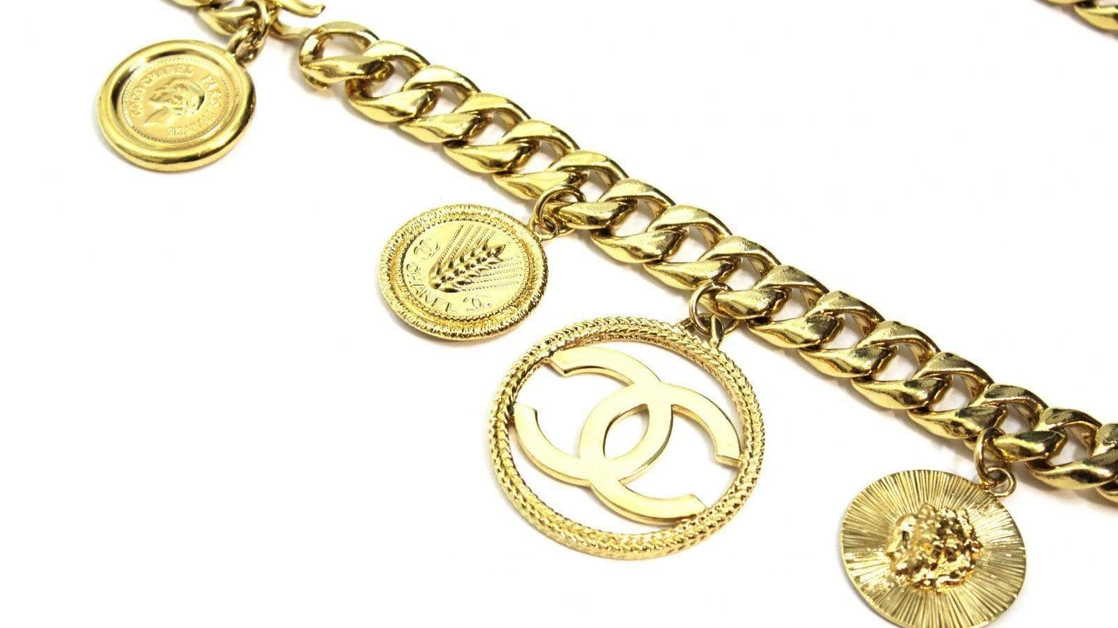 Vintage Heavy Multi Pendent Chanel Cuban Link Chain RSTKD Vintage