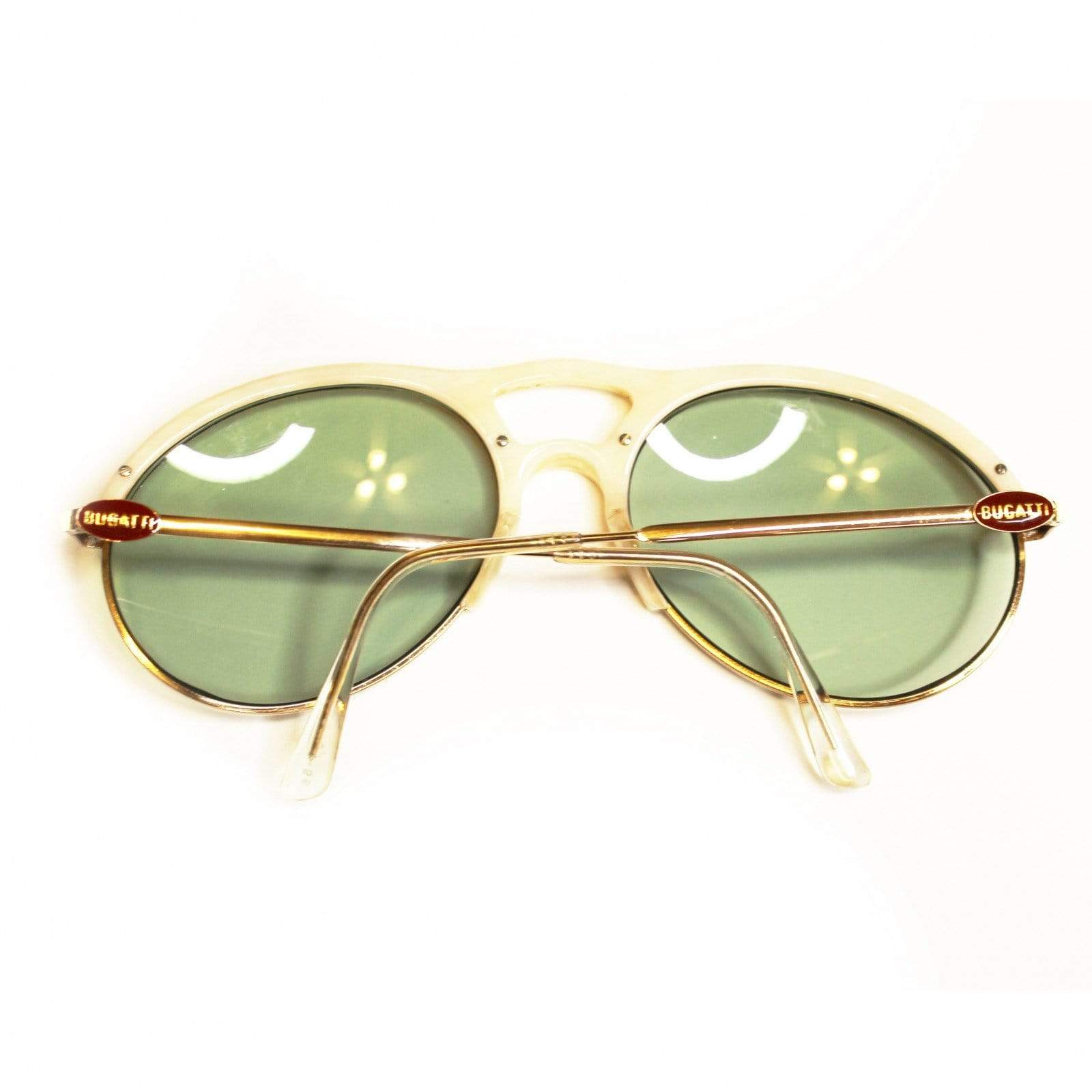 Vintage Ivory Bugatti Shades With Green Gradient Lens RSTKD Vintage