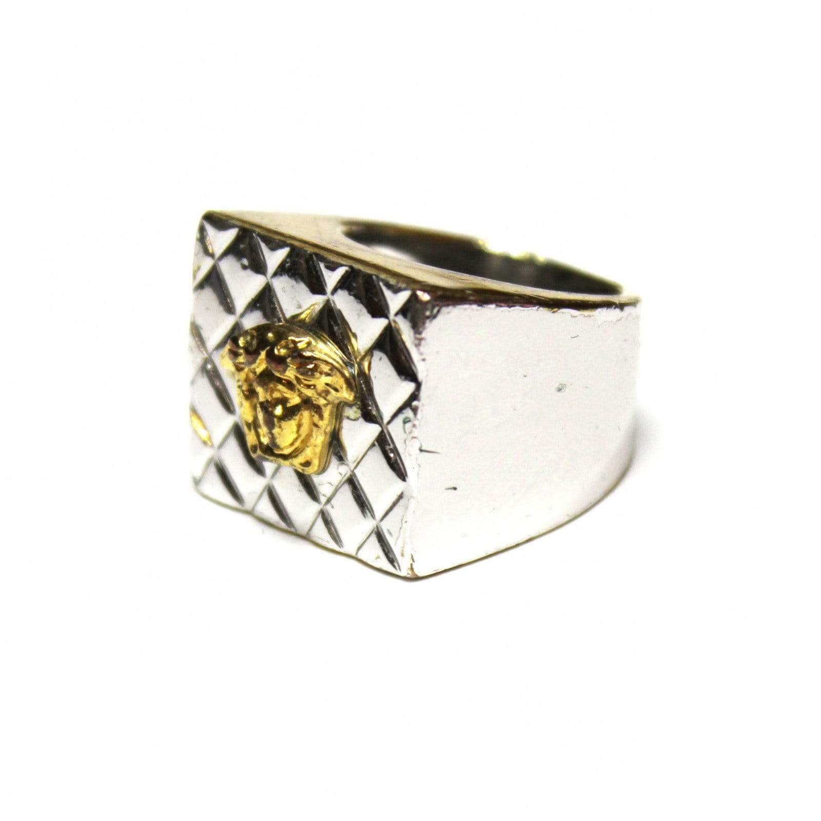 Vintage Silver/ Gold Quilted Gianni Versace Medusa Head Pinky Ring RSTKD Vintage