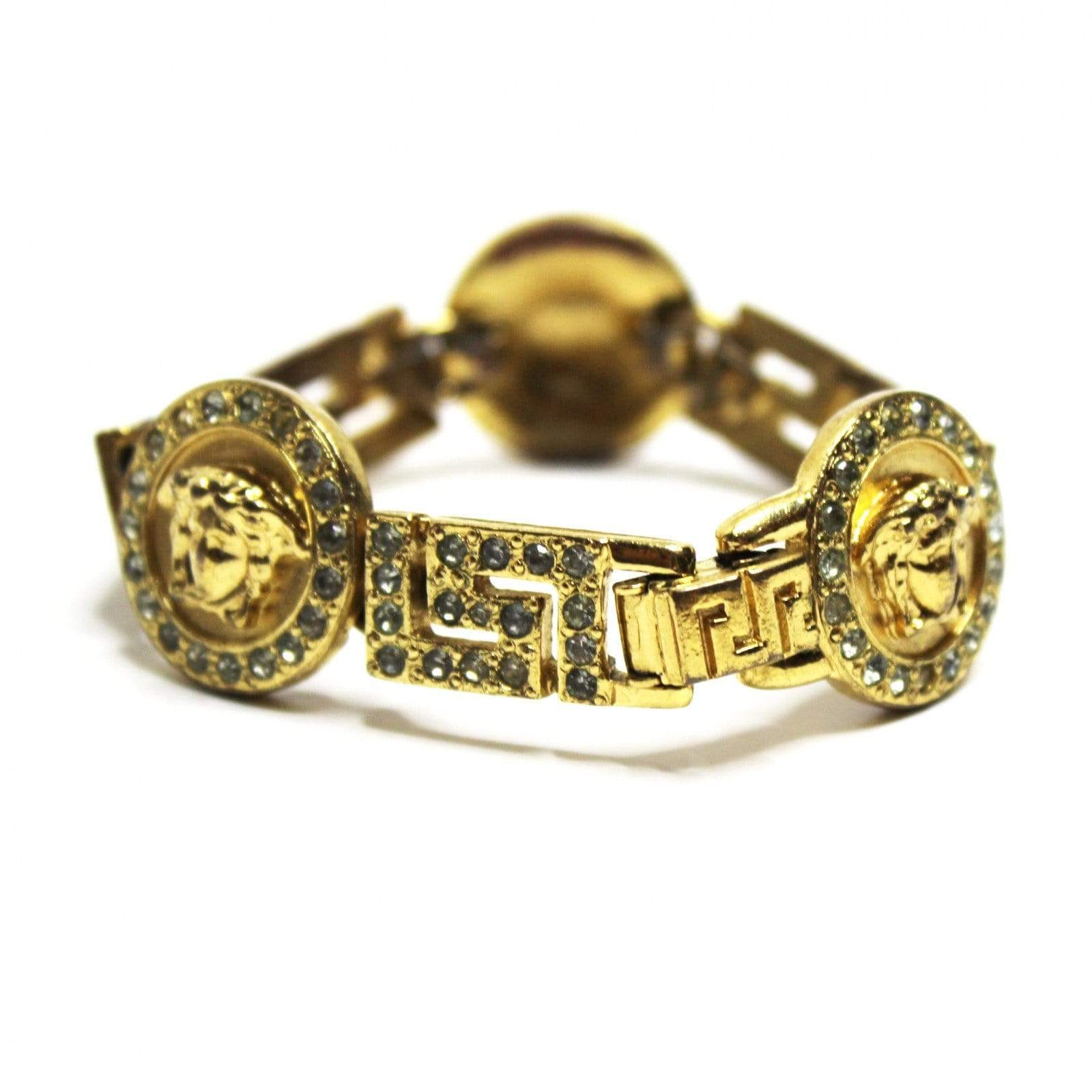 Vintage Versace Greek Key & Medusa Head Bracelet with Crystal Accents RSTKD Vintage
