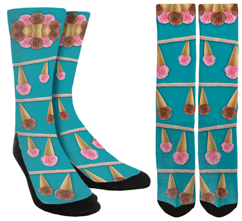 ice cream socks, girls ice cream socks, girls crazy socks, girls cute socks, custom socks, ice cream gifts