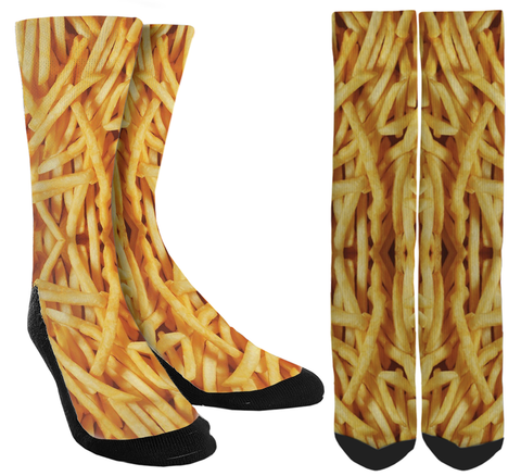 French Fry Socks, French Fries Socks, French Fry Crew Socks, Mens French Fry Socks, Womens French Fry Socks, French Fry Lovers