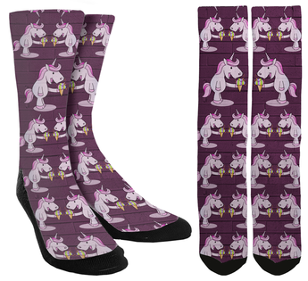 unicorn socks, unicorn crew socks, socks with unicorns, crazy socks, novelty socks, unique socks, mens crazy socks, womens crazy socks