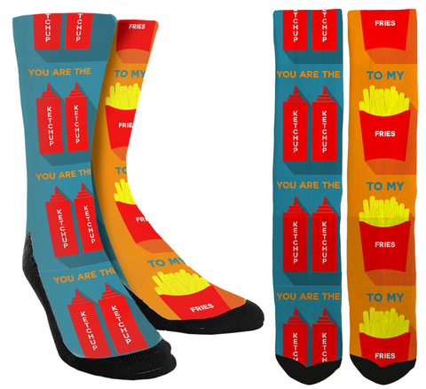 you are the ketchup to my fries, relationship socks, bae socks, boyfriend gifts, girlfriend gifts