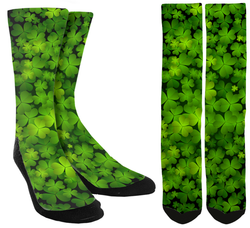 Saint Patrick's Day Socks - Green Clover Crew Socks - SockAndShop