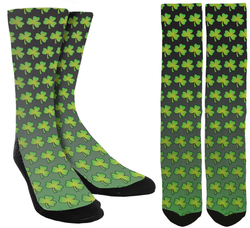 Saint Patricks' Day Socks - Green Clover Crew Socks - SockAndShop
