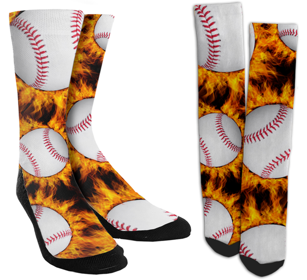 Baseball- Fire Baseball Crew Socks - SockAndShop