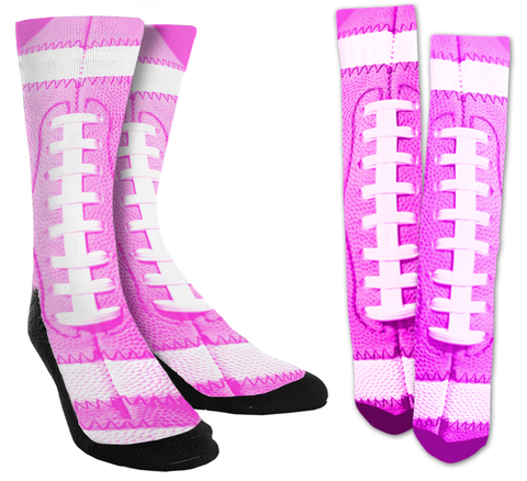 Football - Pink Football Crew Socks - SockAndShop