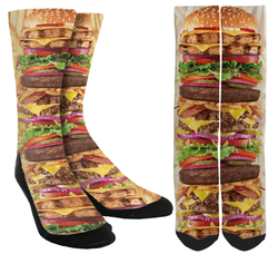 Hamburger Deluxe Novelty Crew Socks