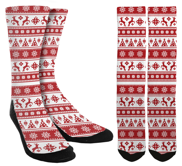 Holiday - Red Holiday Crew Socks - SockAndShop