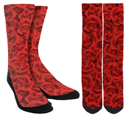 Valentines Day - Red Rose Petals Crew Socks - SockAndShop