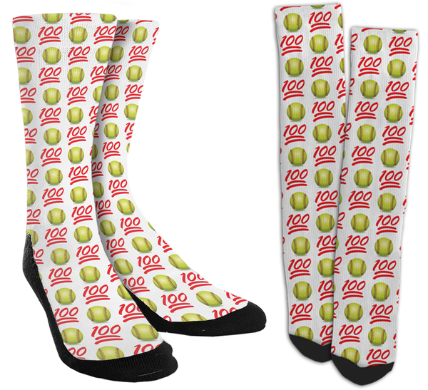 Softball Emoji Crew Socks - SockAndShop