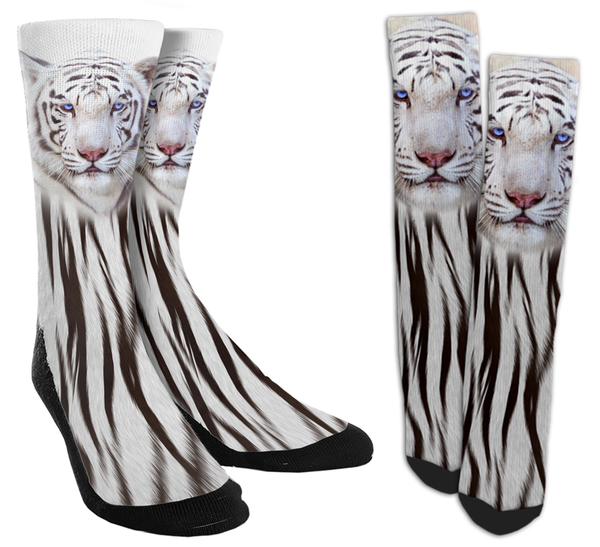White Tiger Crew Socks - SockAndShop