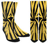 Electric Yellow & Black Color Crew Socks - SockAndShop