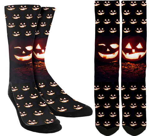 Halloween Scary Pumpkin Crew Socks - SockAndShop