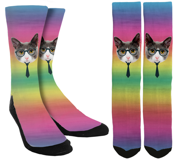 Professor Cat Crew Socks - SockAndShop
