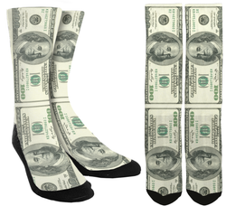 New 100 Dollar Bill Crew Socks - SockAndShop