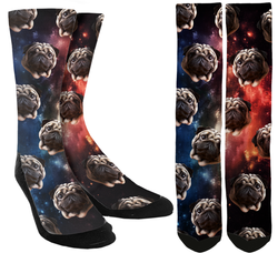 New Pugs in Space Crew Socks - SockAndShop