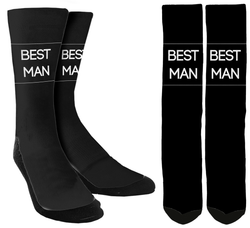 "Wedding Socks - ""Best Man"" Crew Socks - SockAndShop"