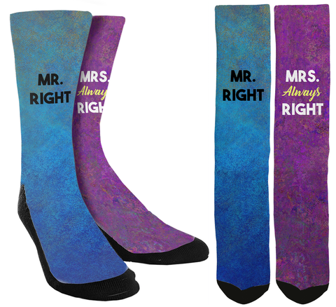 "New Relationship ""Mr. Right & Mrs. Always Right"" crew socks - SockAndShop"
