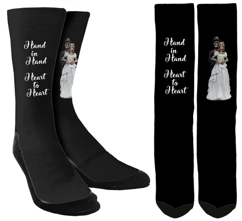 Wedding Socks - Hand in Hand Crew Socks - SockAndShop
