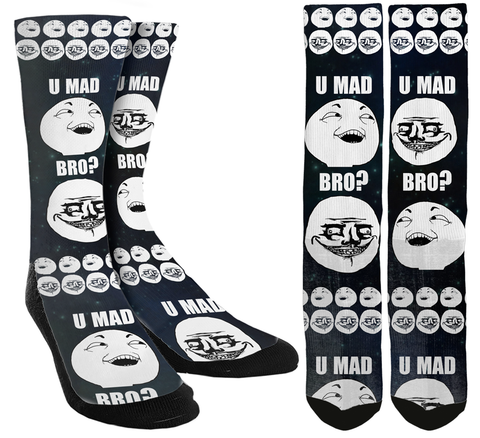 U Mad Bro Crew Socks - SockAndShop