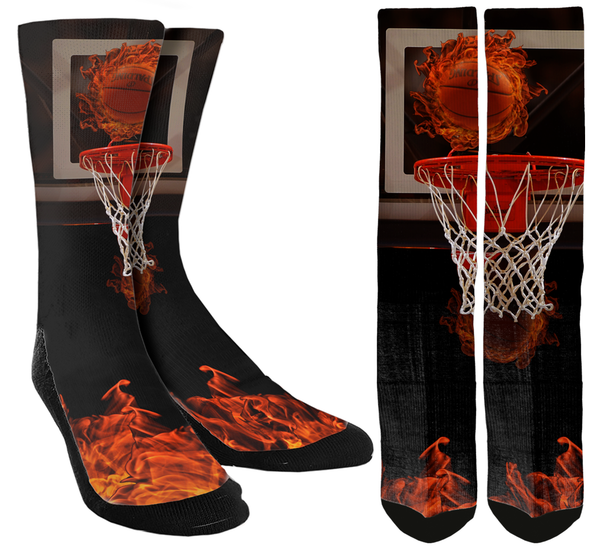 Basketball - Fire Shot Basketball Crew Socks - SockAndShop