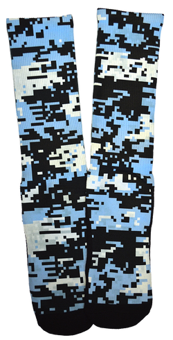 Camouflage - Black & Blue Retro Crew Socks - SockAndShop
