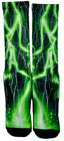 Lightning - Green Lightning Crew Socks - SockAndShop