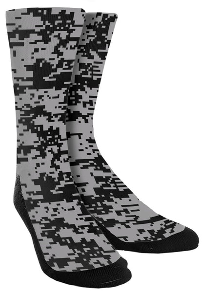 Camouflage - Black/White Retro Crew Socks - SockAndShop