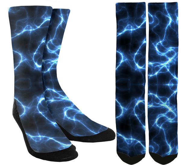 Novelty Blue Lighting Crew Socks - SockAndShop