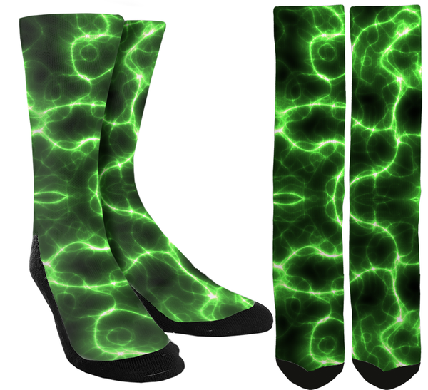 Novelty Green Lighting Crew Socks - SockAndShop