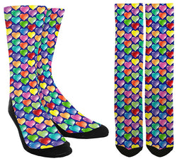 Valentines Day - Multi Color Heart Crew Socks - SockAndShop
