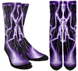 Lightning - Purple Lightning Crew Socks - SockAndShop