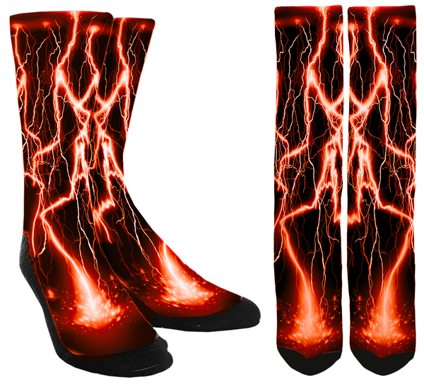 Orange Lightning Socks - SockAndShop