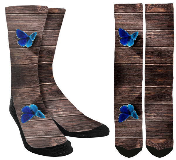 Blue Butterfly Crew Socks - SockAndShop