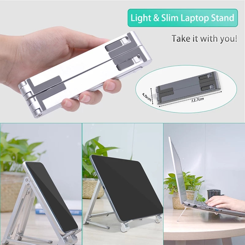 Three-way folding gadget stand