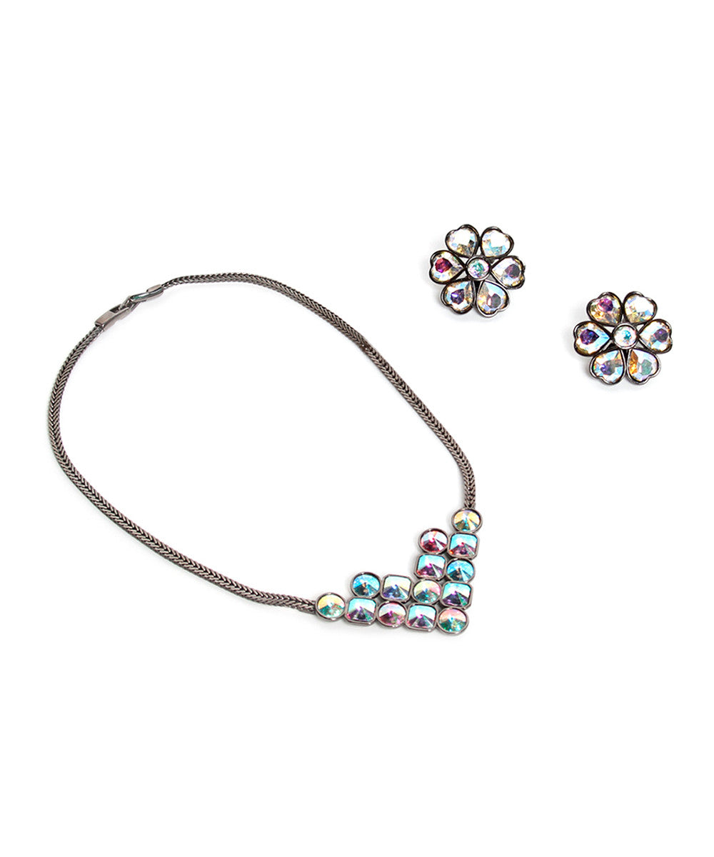 Yves Saint Laurent Multicolor Crystal Choker and Earring Set - C.Madeleine's