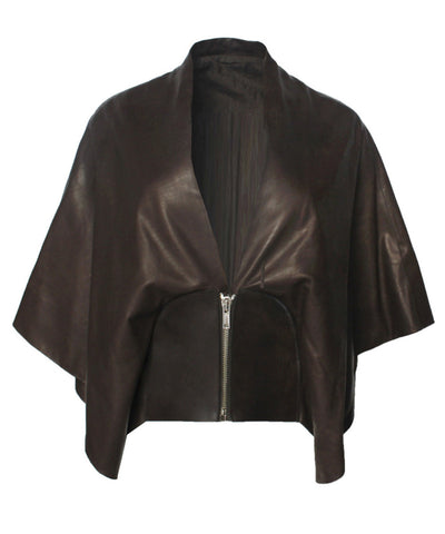 Rick Owens Dark Chocolate Leather Cropped Cape Jacket - C.Madeleine's