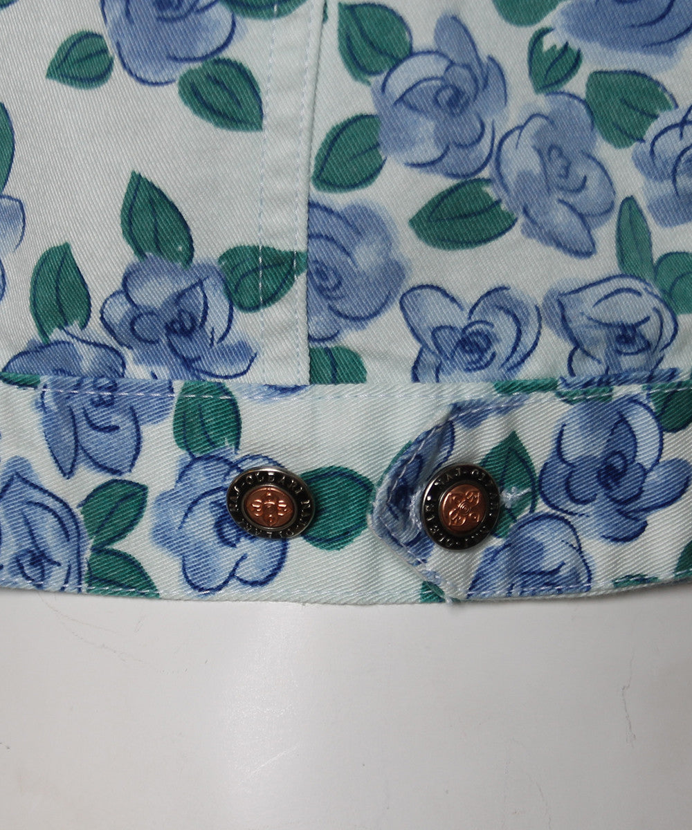 PROGRESS- Naj-Oleari Mint Green Denim Jacket with Blue Flowers and Green Leaves Allover Print - C.Madeleine's